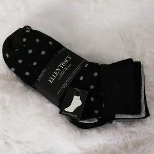 6 Pair Ellen Tracy Quarter Socks NWT
